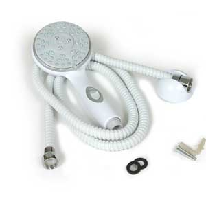 "Camco 43714 Shower Head Kit with On/Off Switch and 60"" Flexible Shower Hose (White)"