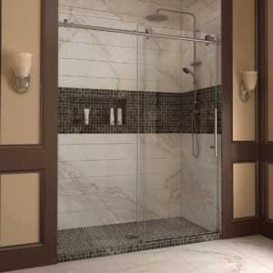 """DreamLine Enigma-X 56-60 in. Width, Frameless Sliding Shower Door, 3/8"""" Glass, Brushed Stainless Steel Finish"""
