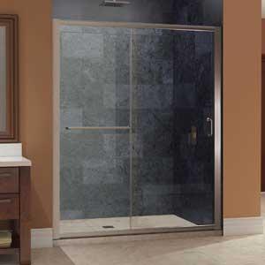 """DreamLine Infinity-Z 56-60 in. Width, Frameless Sliding Shower Door, 1/4"""" Glass, Brushed Nickel Finish"""