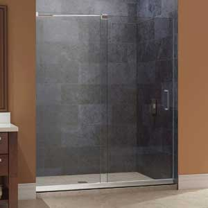 "DreamLine Mirage 44-48 in. Width, Frameless Sliding Shower Door, 3/8"" Glass, Brushed Nickel Finish"