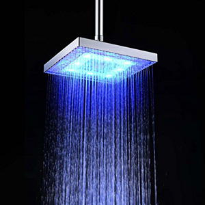 Getek Square 8 inch Led Shower Head Temperature Sensor