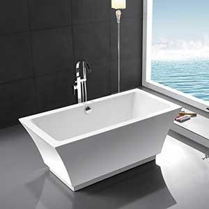 Kaifeng Modern Freestanding Soaking Bathtub Acrylic White Color Rectangle Bathroom 716KC