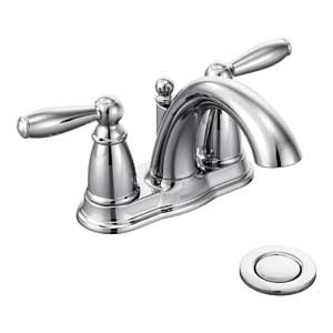 Moen 6610 Brantford Two-Handle Low Arc Bathroom Faucet with Drain Assembly, Chrome