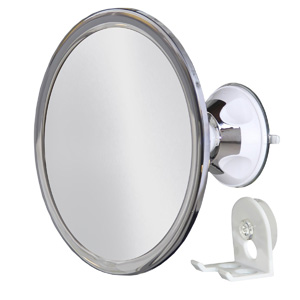 No Fog Shower Mirror with Rotating, Locking Suction;