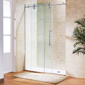 VIGO Elan 56 to 60-in. Frameless Sliding Shower Door with .375-in. Clear Glass and Chrome Hardware