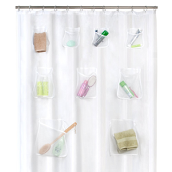 Maytex Mesh Pockets PEVA Shower Curtain Clear
