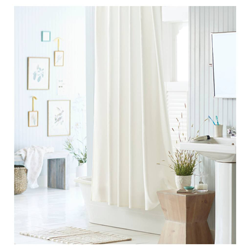 Mildew Resistant Fabric Shower Curtain White