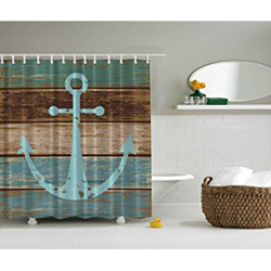 Nautical Anchor Rustic Wood - Shower Curtain